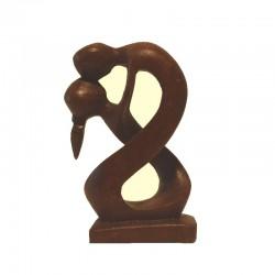 Statue Couple embracing H10 cm solid wood Suar