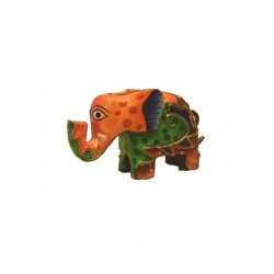 Elephant H 5 cm wooden painted multicolor