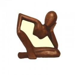 Statue The Thinker H10 cm solid wood Suar