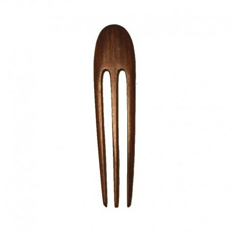 Pic à cheveux triple en bois d'ébène