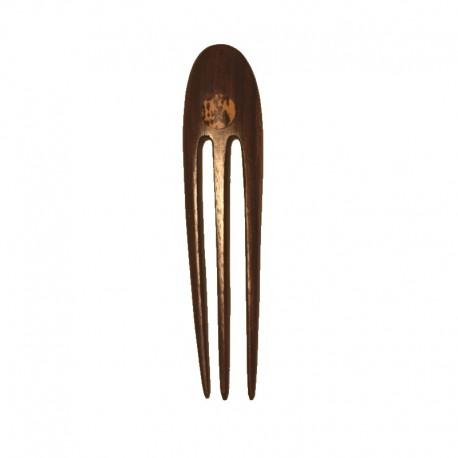 Pic à cheveux triple avec design en bois d'ébène