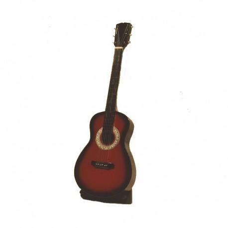 Guitare classique miniature H24 cm - modèle 16 - marron et blanc