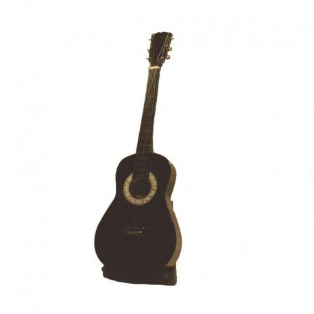Guitare acoustique miniature H24 cm - modèle 03 - noir et blanc