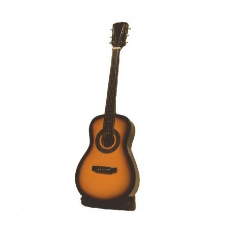 Guitare bois miniature H24 cm - modèle 04 - marron clair