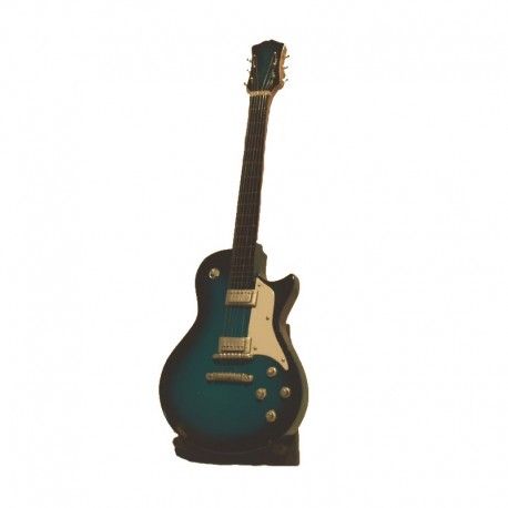 Mini guitare électrique H24 cm - modèle 08 - bleu et blanc