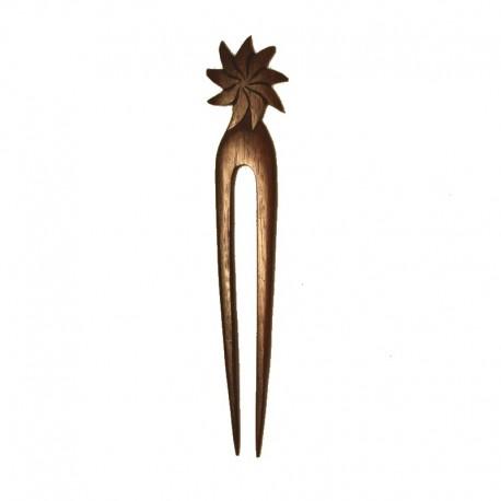 Pic à cheveux Fleur en bois d'ébène