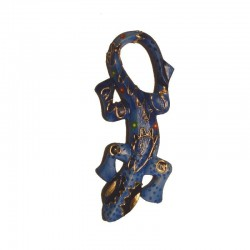 Wall gecko painted wood H20 cm - Blue