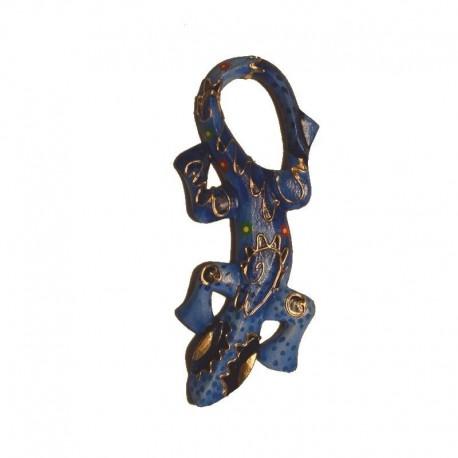 Gecko en bois peint H29 cm déco murale - Bleu