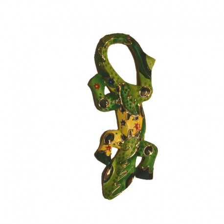 Wall decor gecko painted wood H29 cm - Green