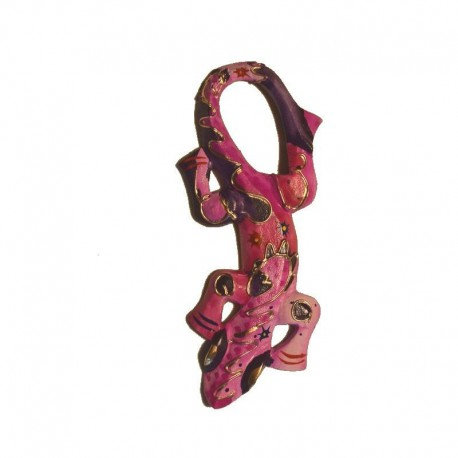 Wall gecko painted wood H25 cm - Purple