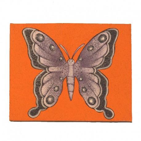 Tableau naïf animaux 25x19,5 cm - Papillon