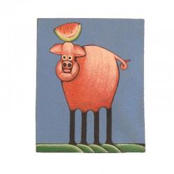 Tableau naïf animaux 19,5x25 cm - Cochon et pastèque