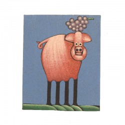 Painting naive animals 19,5x25 cm - Pig with grappe
