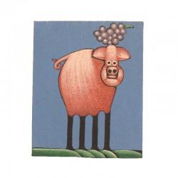 Tableau naïf animaux 19,5x25 cm - Cochon avec raisin