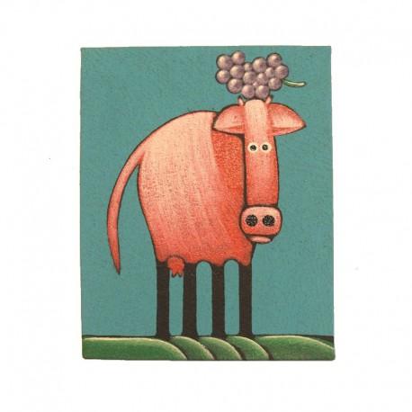 Tableau naïf animaux 19,5x25 cm - Vache et raisin