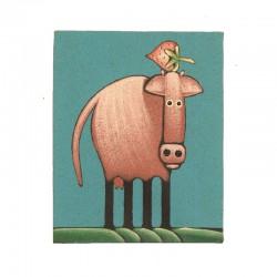 Tableau naïf animaux 19,5x25 cm - Vache et fraise