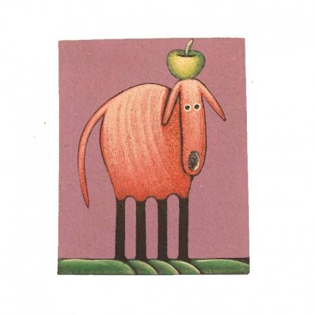 Tableau naïf animaux 19,5x25 cm - Chien avec pomme