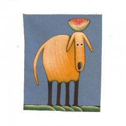 Tableau naïf animaux 19,5x25 cm - Chien avec pastèque