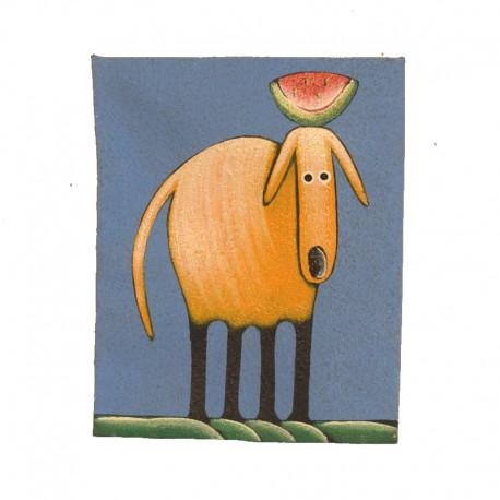Tableau naïf animaux 19,5x25 cm - Chien avec de la pastèque