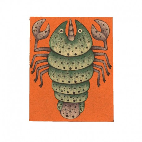 Tableau naïf animaux 19,5x25 cm - Insecte