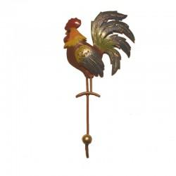 Metal Rooster coat hanger H24 cm