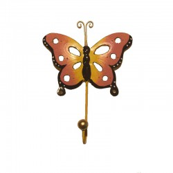 Portemanteau crochet Papillon rose métal H 19 cm