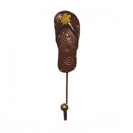Portemanteau crochet Tong marron métal H 22 cm