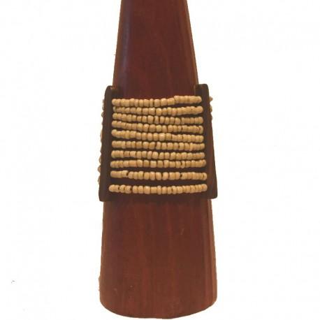 Bracelet perles et bois Larg 6,5cm - Blanc