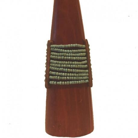 Bracelet perles et bois Larg 6,5cm - Bleu