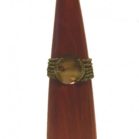 Bracelet perles et nacre ronde 4cm - Bleu-vert