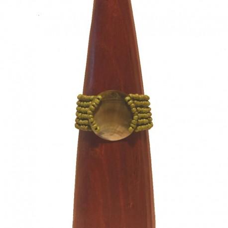 Bracelet perles et nacre ronde 4cm - Vert