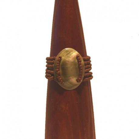Bracelet perles et nacre ovale 5cm - Marron clair