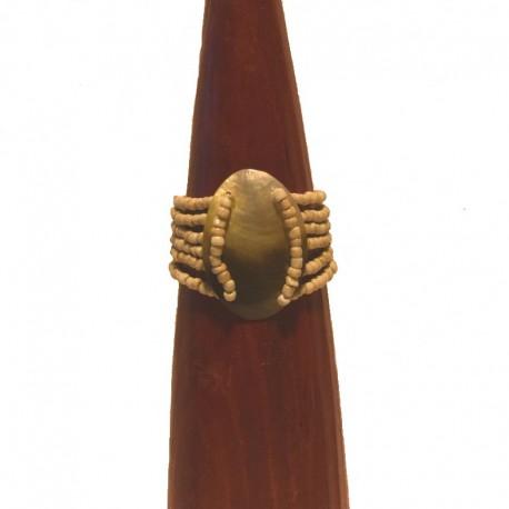 Bracelet perles et nacre ovale 5cm - Crème