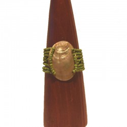 Bracelet perles et nacre ovale 6 cm - Différentes couleurs