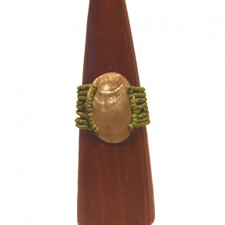 Bracelet perles rocaille et nacre ovale 6 cm - Vert