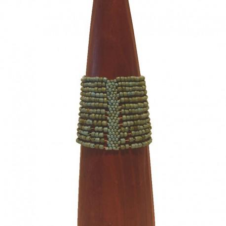 Bracelet manchette perles de rocaille 6 cm - Bleu-vert