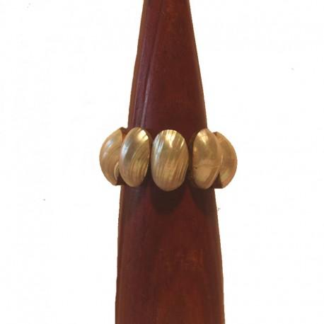 Bracelet bois et coquillage 3 cm - Blanc ivoire