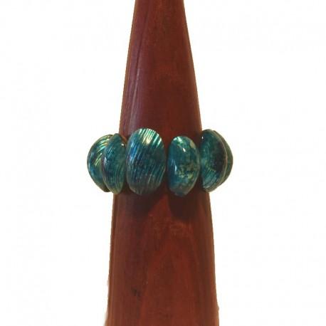 Bracelet bois et coquillage 3 cm - Bleu turquoise