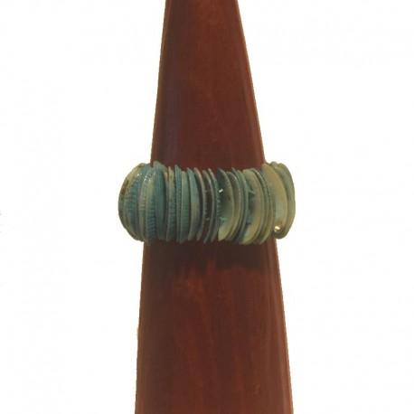 Bracelet coquillage Larg 3,5cm - Bleu