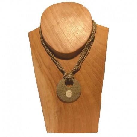 Collier perles pendentif rond coquillage - Beige