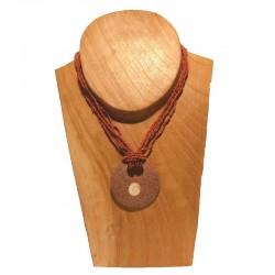 Collier perles pendentif rond coquillage - Différentes couleurs