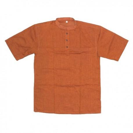Cotton short-sleeved shirt 3XL - Light brown