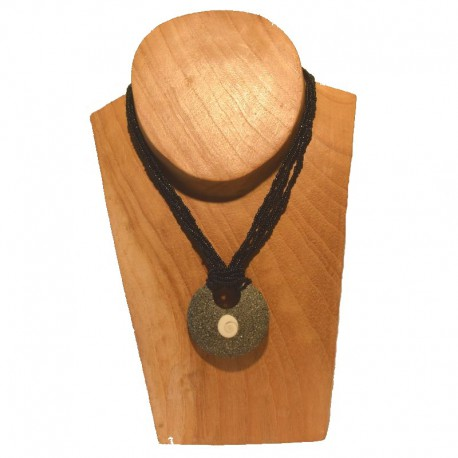 Collier perles pendentif rond coquillage - Noir