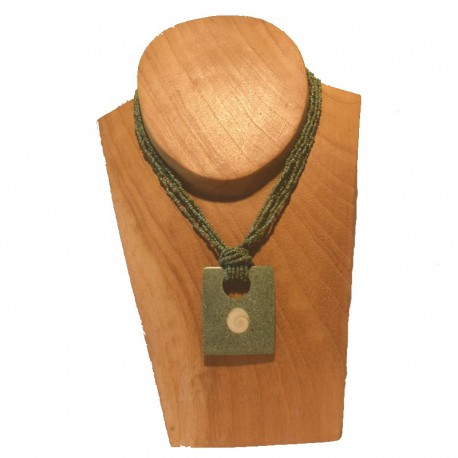 Collier perles pendentif rectangle coquillage - Bleu-vert