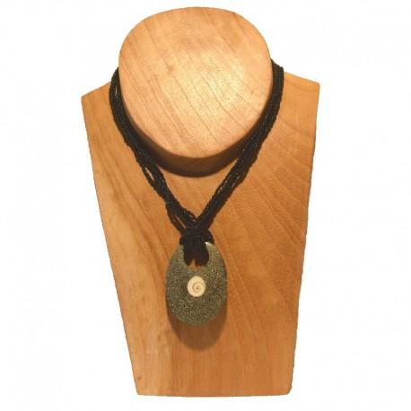 Collier perles pendentif ovale coquillage - Noir