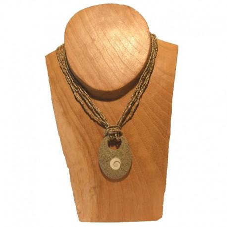Collier perles pendentif ovale coquillage - Beige