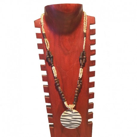 Necklace beads and nacre Zebra - Cream colored