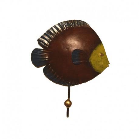 Portemanteau crochet Poisson lune métal H 21 cm