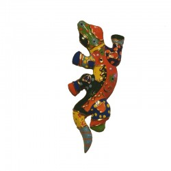 Wall gecko multicolored painted wood H12 cm