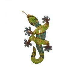 Gecko mural en métal L23 cm - Vert